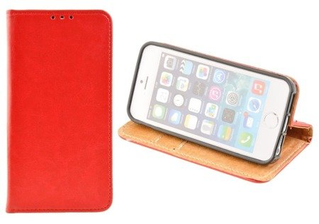 SKÓRZANE ETUI BOOK COVER do APPLE iPhone 5 / 5S / 5SE czerwony
